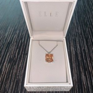 "ELLE Jewelry 16-18"" Orange Citrine Pendant"